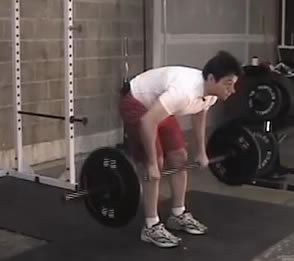 Incorrect posture when performing the bent over row