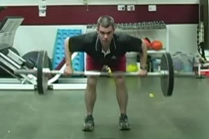 Man performing a bent over row
