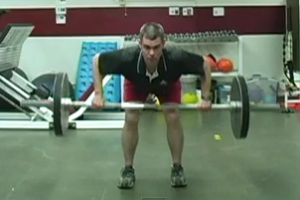 Man performing a barbell row