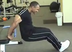 Man performing a tricep dip