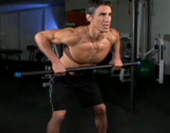 Man performing bent over barbell rows