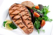 Large grilled salmon steak