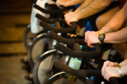 Stationary cycling at a fitness center