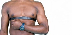 Man wearing a heart rate monitor