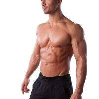 Man with ripped body fat levels