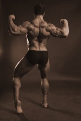 Bodybuilder with good back muscles