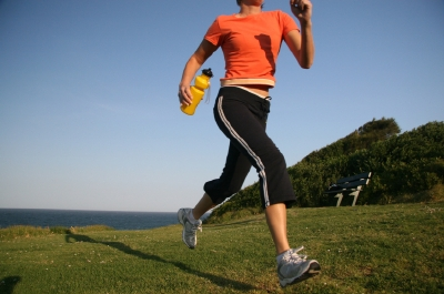 Woman cross country running