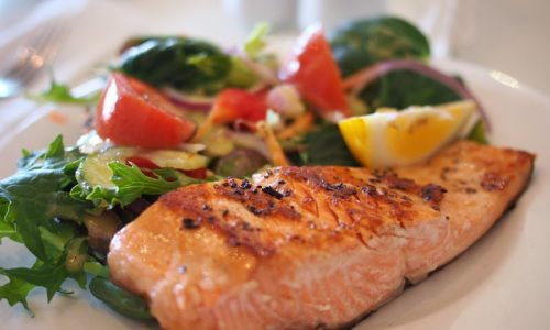 Baked salmon meal